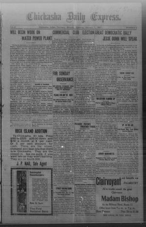 Primary view of object titled 'Chickasha Daily Express. (Chickasha, Indian Terr.), Vol. 8, No. 5, Ed. 1 Monday, January 7, 1907'.