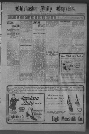 Primary view of object titled 'Chickasha Daily Express. (Chickasha, Indian Terr.), No. 240, Ed. 1 Monday, October 9, 1905'.