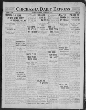 Primary view of object titled 'Chickasha Daily Express (Chickasha, Okla.), Vol. 20, No. 156, Ed. 1 Tuesday, July 1, 1919'.