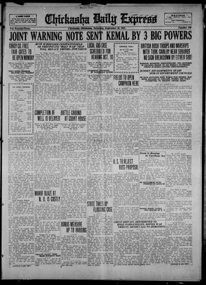 Primary view of object titled 'Chickasha Daily Express (Chickasha, Okla.), Vol. 23, No. 130, Ed. 1 Saturday, September 16, 1922'.