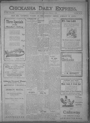 Primary view of object titled 'Chickasha Daily Express. (Chickasha, Indian Terr.), Vol. 13, No. 31, Ed. 1 Sunday, February 7, 1904'.