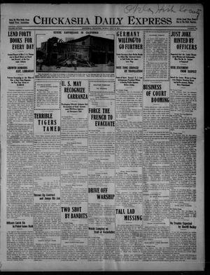 Primary view of object titled 'Chickasha Daily Express (Chickasha, Okla.), Vol. SIXTEEN, No. 194, Ed. 1 Monday, July 12, 1915'.