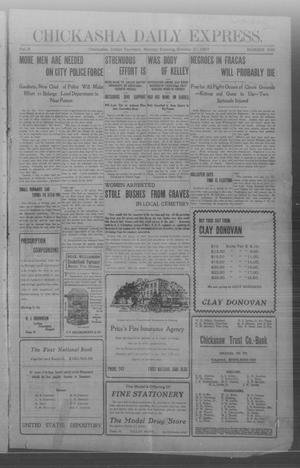 Primary view of object titled 'Chickasha Daily Express. (Chickasha, Indian Terr.), Vol. 8, No. 246, Ed. 1 Monday, October 21, 1907'.