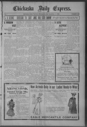 Primary view of object titled 'Chickasha Daily Express. (Chickasha, Indian Terr.), Vol. 7, No. 293, Ed. 1 Monday, December 11, 1905'.