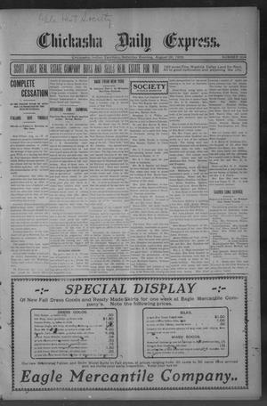 Primary view of object titled 'Chickasha Daily Express. (Chickasha, Indian Terr.), No. 204, Ed. 1 Saturday, August 26, 1905'.