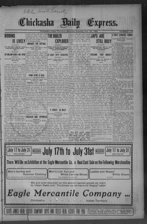 Primary view of object titled 'Chickasha Daily Express. (Chickasha, Indian Terr.), No. 173, Ed. 1 Saturday, July 22, 1905'.