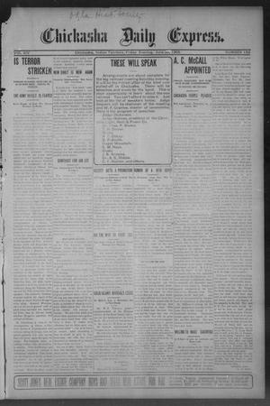 Primary view of object titled 'Chickasha Daily Express. (Chickasha, Indian Terr.), Vol. 14, No. 156, Ed. 1 Friday, June 30, 1905'.