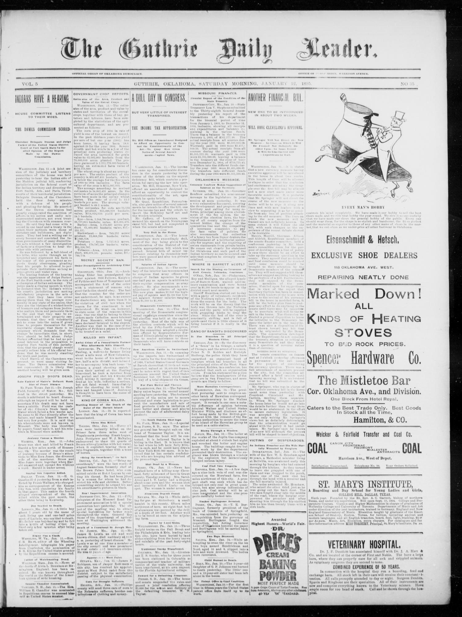 The Guthrie Daily Leader. (Guthrie, Okla.), Vol. 5, No. 35, Ed. 1, Saturday, January 12, 1895                                                                                                      [Sequence #]: 1 of 4