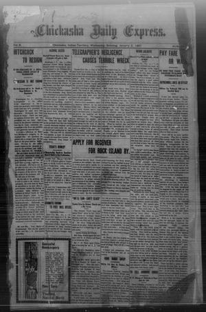 Primary view of object titled 'Chickasha Daily Express. (Chickasha, Indian Terr.), Vol. 8, No. 1, Ed. 1 Wednesday, January 2, 1907'.