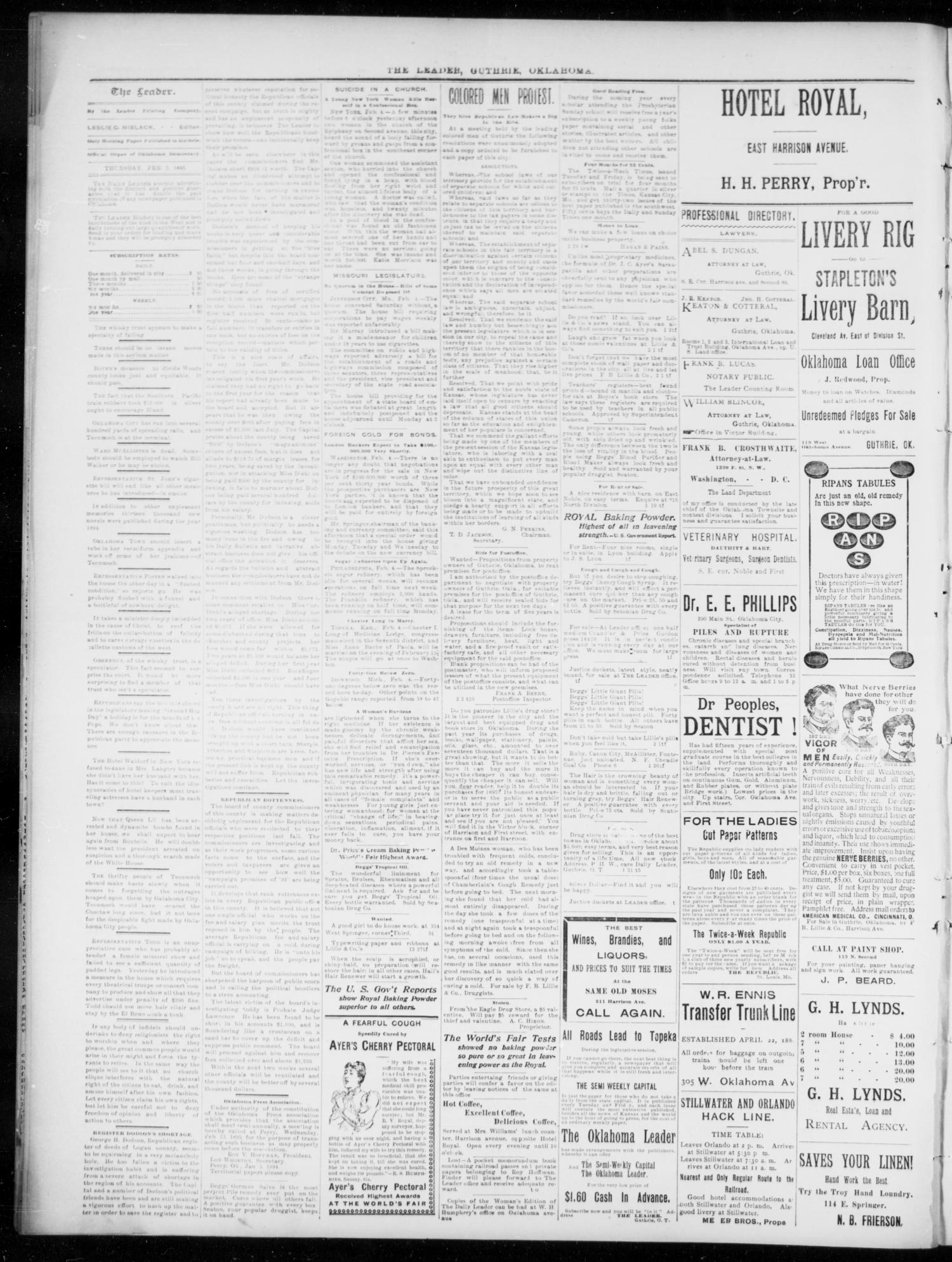 The Guthrie Daily Leader  (Guthrie, Okla ), Vol  5, No  57
