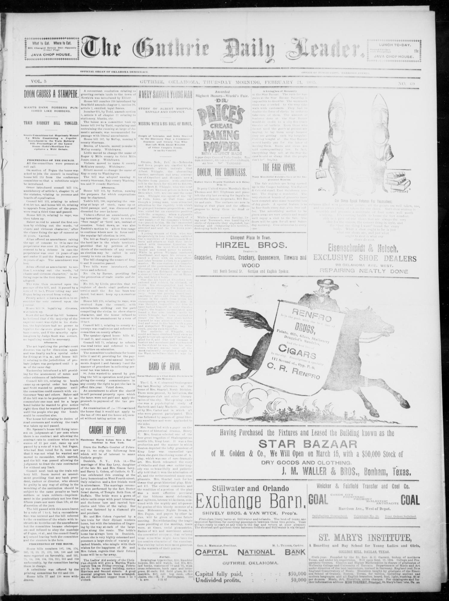 The Guthrie Daily Leader. (Guthrie, Okla.), Vol. 5, No. 69, Ed. 1, Thursday, February 21, 1895                                                                                                      [Sequence #]: 1 of 4
