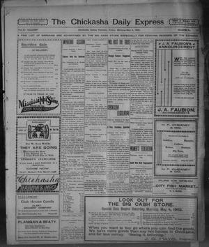 Primary view of object titled 'The Chickasha Daily Express. (Chickasha, Indian Terr.), Vol. 11, No. 111, Ed. 1 Friday, May 2, 1902'.