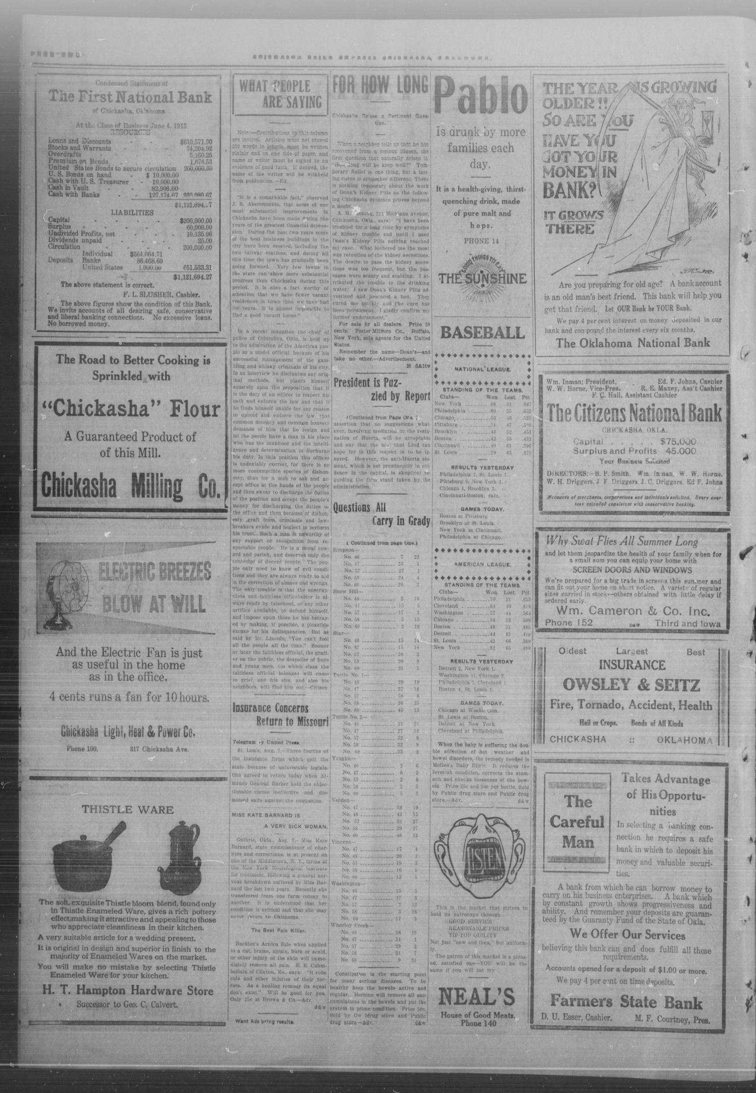 Chickasha Daily Express. (Chickasha, Okla.), Vol. FOURTEEN, No. 188, Ed. 1 Thursday, August 7, 1913                                                                                                      [Sequence #]: 2 of 6