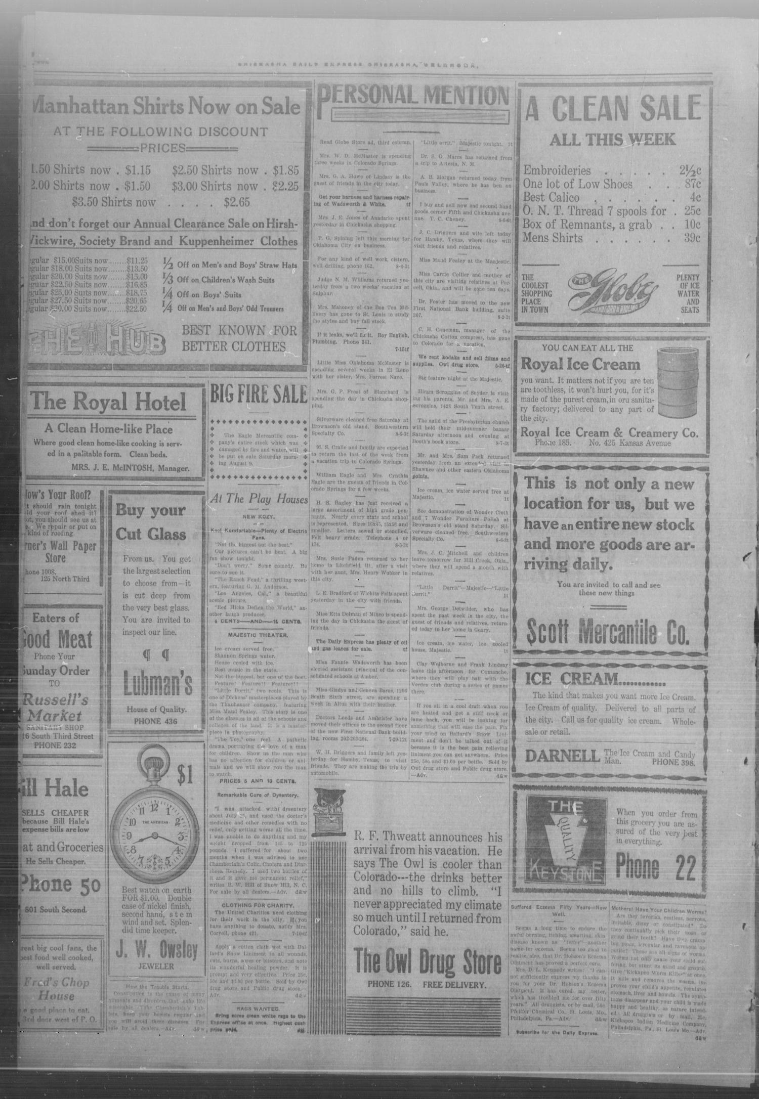 Chickasha Daily Express. (Chickasha, Okla.), Vol. FOURTEEN, No. 188, Ed. 1 Thursday, August 7, 1913                                                                                                      [Sequence #]: 4 of 6