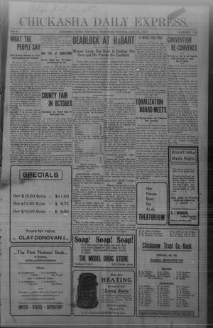 Primary view of object titled 'Chickasha Daily Express. (Chickasha, Indian Terr.), Vol. 8, No. 149, Ed. 1 Wednesday, June 26, 1907'.