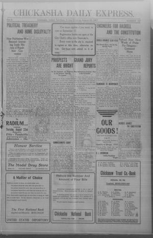Primary view of object titled 'Chickasha Daily Express. (Chickasha, Indian Terr.), Vol. 8, No. 197, Ed. 1 Friday, August 23, 1907'.