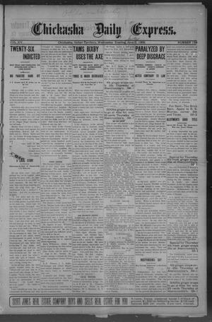 Primary view of object titled 'Chickasha Daily Express. (Chickasha, Indian Terr.), Vol. 14, No. 159, Ed. 1 Wednesday, July 5, 1905'.