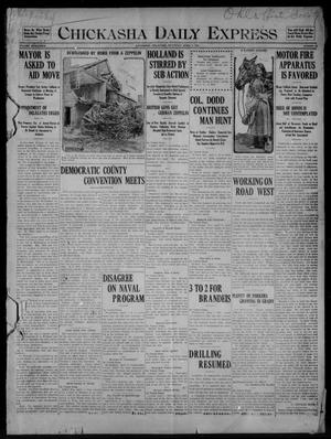 Primary view of object titled 'Chickasha Daily Express (Chickasha, Okla.), Vol. SEVENTEEN, No. 79, Ed. 1 Saturday, April 1, 1916'.