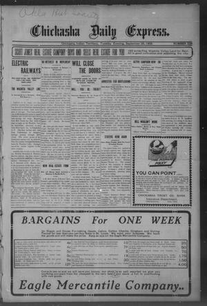 Primary view of object titled 'Chickasha Daily Express. (Chickasha, Indian Terr.), No. 229, Ed. 1 Tuesday, September 26, 1905'.