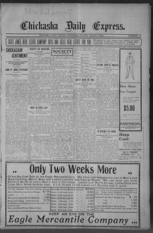 Primary view of object titled 'Chickasha Daily Express. (Chickasha, Indian Terr.), No. 182, Ed. 1 Wednesday, August 2, 1905'.