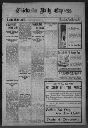 Primary view of object titled 'Chickasha Daily Express. (Chickasha, Indian Terr.), Vol. 7, No. 158, Ed. 1 Friday, July 6, 1906'.