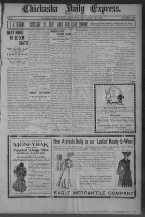 Primary view of object titled 'Chickasha Daily Express. (Chickasha, Indian Terr.), Vol. 7, No. 299, Ed. 1 Monday, December 18, 1905'.