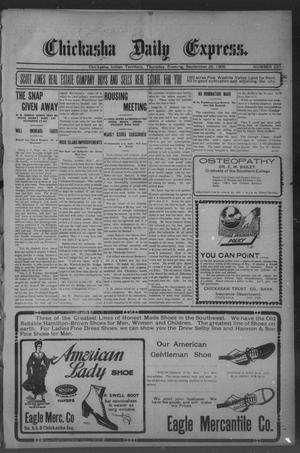 Primary view of object titled 'Chickasha Daily Express. (Chickasha, Indian Terr.), No. 231, Ed. 1 Thursday, September 28, 1905'.