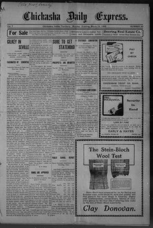Primary view of object titled 'Chickasha Daily Express. (Chickasha, Indian Terr.), Vol. 7, No. 66, Ed. 1 Monday, March 19, 1906'.