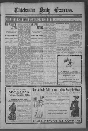Primary view of object titled 'Chickasha Daily Express. (Chickasha, Indian Terr.), No. 261, Ed. 1 Thursday, November 2, 1905'.