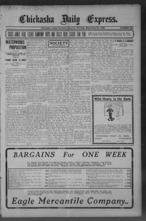 Primary view of object titled 'Chickasha Daily Express. (Chickasha, Indian Terr.), No. 227, Ed. 1 Saturday, September 23, 1905'.