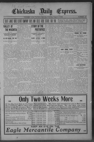 Primary view of object titled 'Chickasha Daily Express. (Chickasha, Indian Terr.), No. 191, Ed. 1 Saturday, August 12, 1905'.