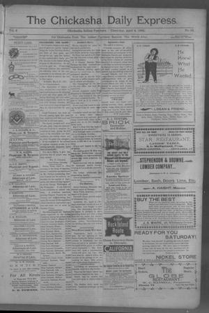 Primary view of object titled 'The Chickasha Daily Express (Chickasha, Indian Terr.), Vol. 2, No. 82, Ed. 1 Thursday, April 4, 1901'.