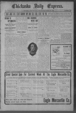 Primary view of object titled 'Chickasha Daily Express. (Chickasha, Indian Terr.), No. 250, Ed. 1 Friday, October 20, 1905'.