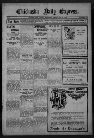 Primary view of object titled 'Chickasha Daily Express. (Chickasha, Indian Terr.), Vol. 7, No. 115, Ed. 1 Wednesday, May 16, 1906'.