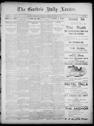 Primary view of object titled 'The Guthrie Daily Leader. (Guthrie, Okla.), Vol. 6, No. 151, Ed. 1, Tuesday, December 3, 1895'.