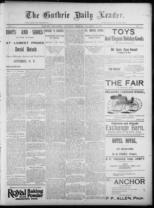 Primary view of object titled 'The Guthrie Daily Leader. (Guthrie, Okla.), Vol. 7, No. 9, Ed. 1, Thursday, December 19, 1895'.