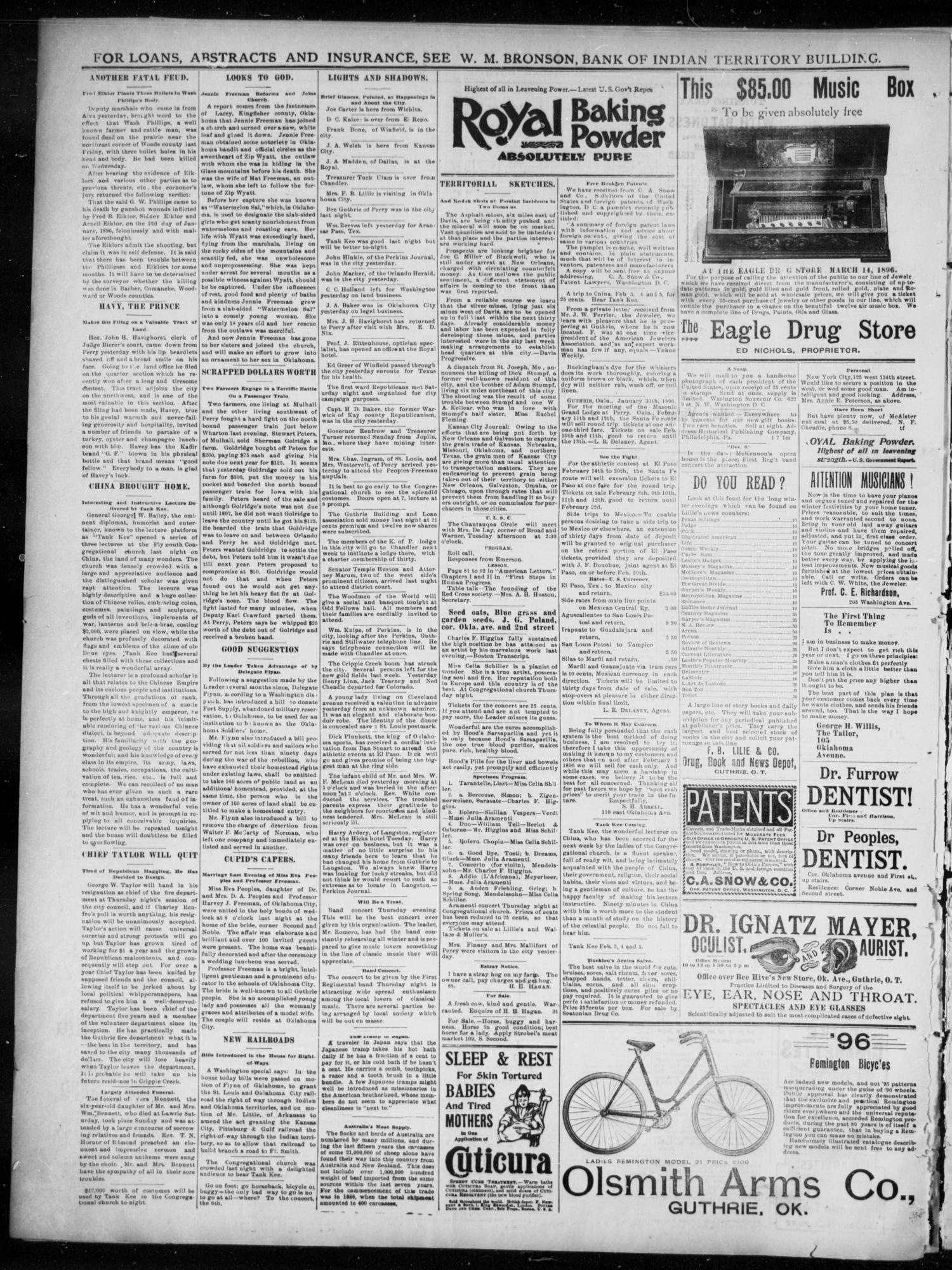 The Guthrie Daily Leader. (Guthrie, Okla.), Vol. 7, No. 46, Ed. 1, Tuesday, February 4, 1896                                                                                                      [Sequence #]: 4 of 4