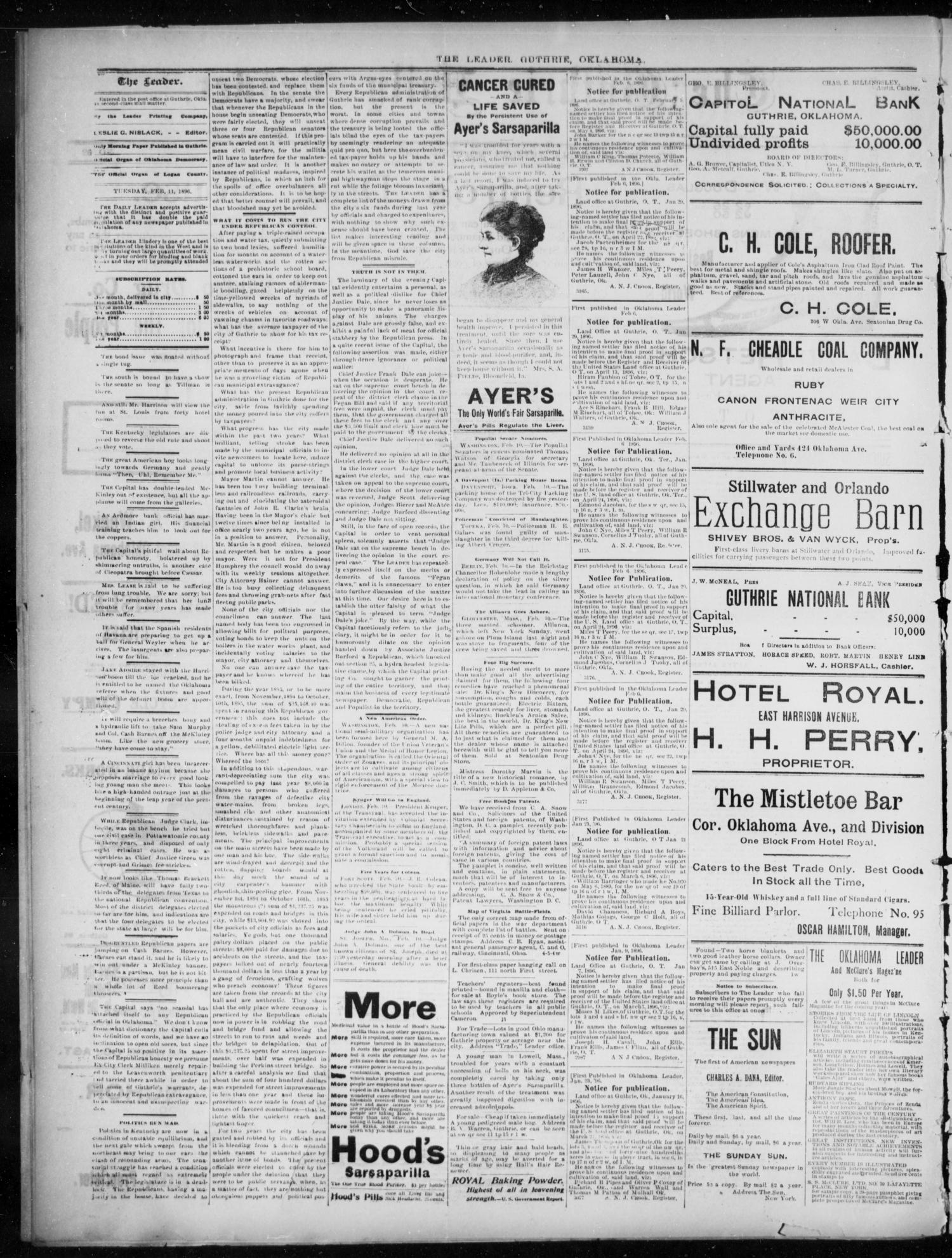The Guthrie Daily Leader. (Guthrie, Okla.), Vol. 7, No. 52, Ed. 1, Tuesday, February 11, 1896                                                                                                      [Sequence #]: 2 of 4