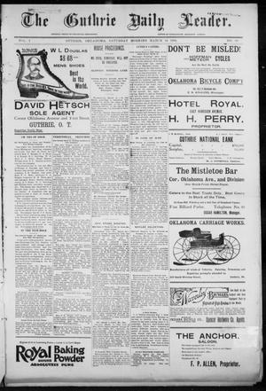 Primary view of object titled 'The Guthrie Daily Leader. (Guthrie, Okla.), Vol. 7, No. 80, Ed. 1, Saturday, March 14, 1896'.
