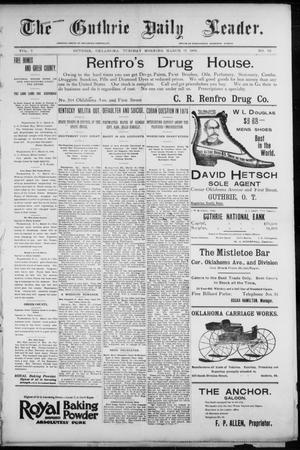 Primary view of object titled 'The Guthrie Daily Leader. (Guthrie, Okla.), Vol. 7, No. 82, Ed. 1, Tuesday, March 17, 1896'.