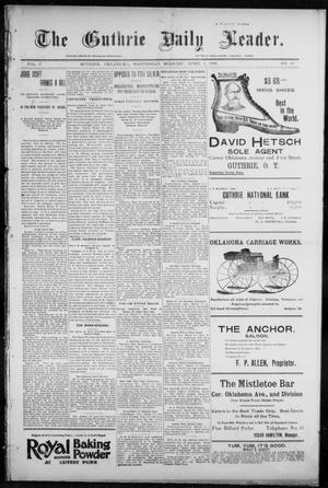 Primary view of object titled 'The Guthrie Daily Leader. (Guthrie, Okla.), Vol. 7, No. 95, Ed. 1, Wednesday, April 1, 1896'.