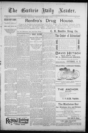 Primary view of object titled 'The Guthrie Daily Leader. (Guthrie, Okla.), Vol. 7, No. 96, Ed. 1, Thursday, April 2, 1896'.