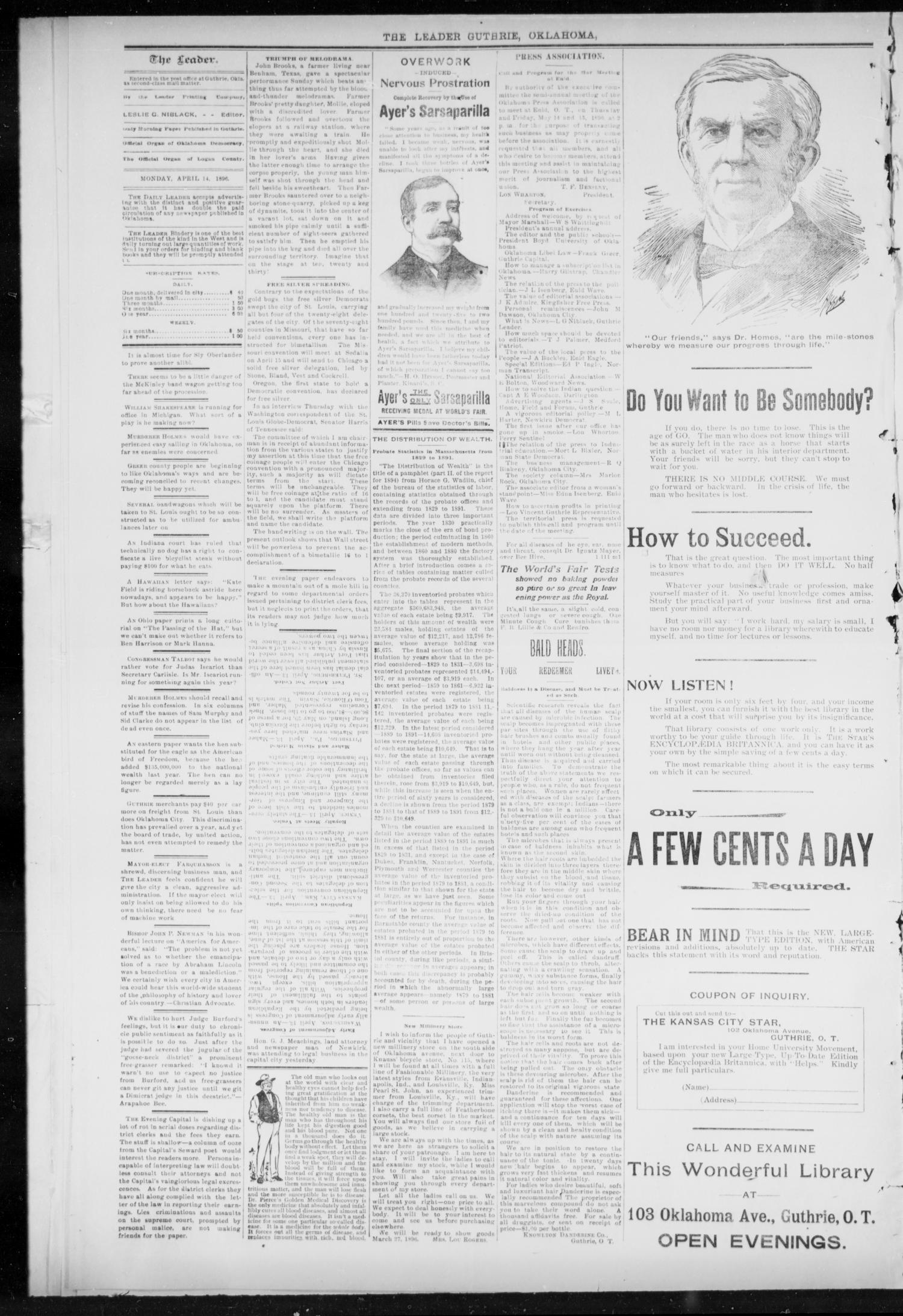 The Guthrie Daily Leader. (Guthrie, Okla.), Vol. 7, No. 106, Ed. 1, Tuesday, April 14, 1896                                                                                                      [Sequence #]: 2 of 4