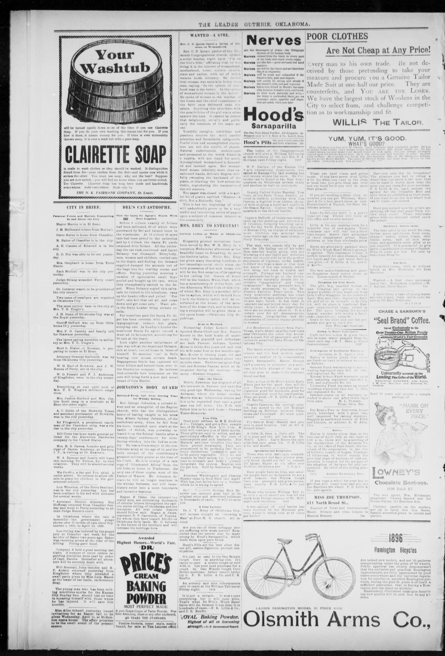 The Guthrie Daily Leader. (Guthrie, Okla.), Vol. 7, No. 106, Ed. 1, Tuesday, April 14, 1896                                                                                                      [Sequence #]: 4 of 4
