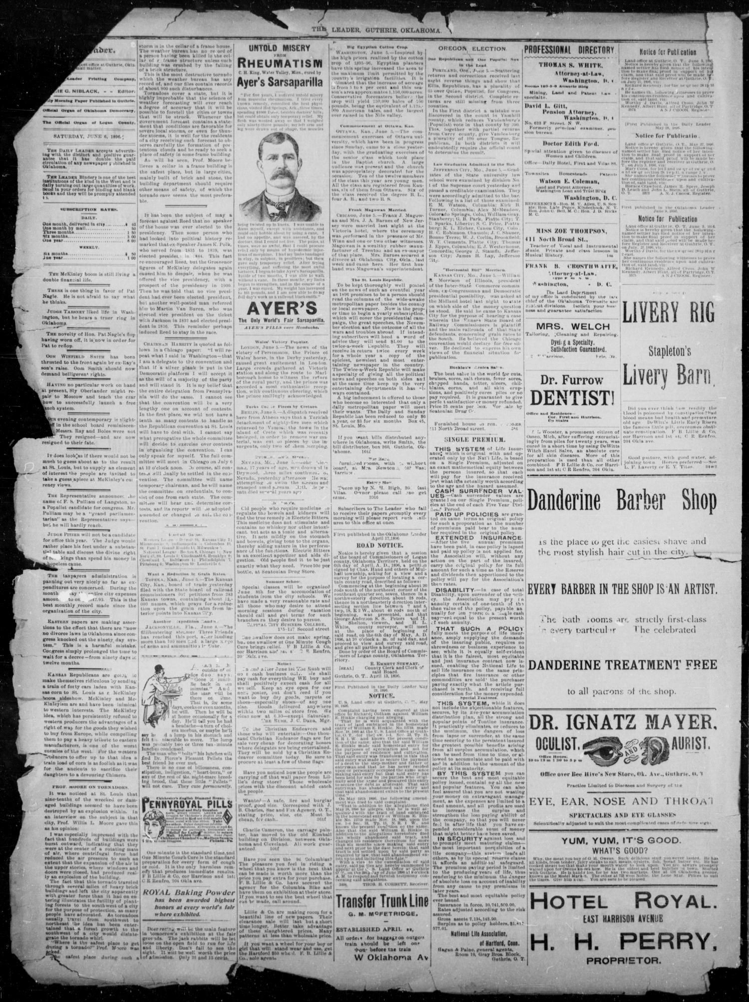 The Guthrie Daily Leader. (Guthrie, Okla.), Vol. 7, No. 151, Ed. 1, Saturday, June 6, 1896                                                                                                      [Sequence #]: 2 of 4
