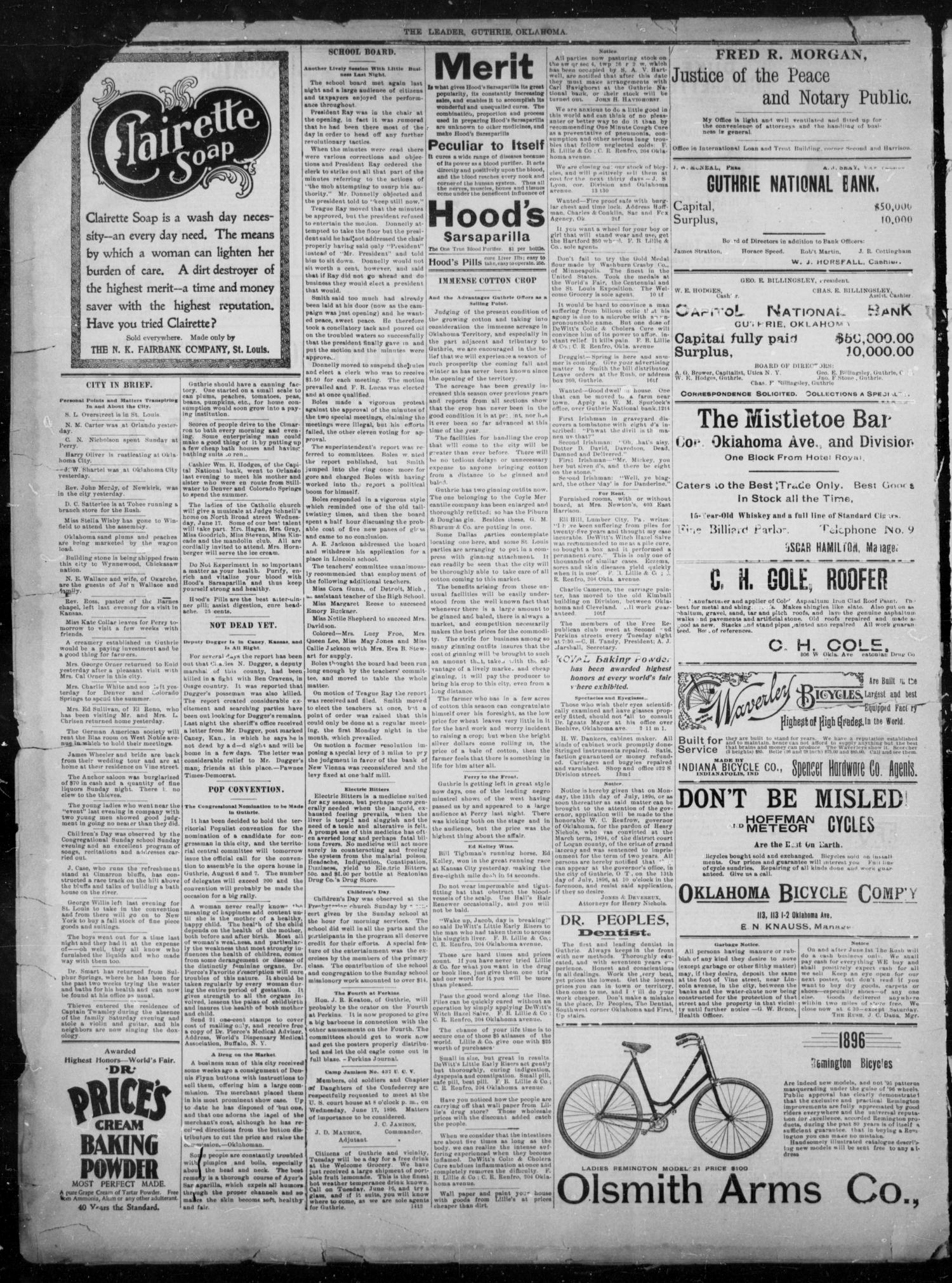 The Guthrie Daily Leader. (Guthrie, Okla.), Vol. 8, No. 13, Ed. 1, Tuesday, June 16, 1896                                                                                                      [Sequence #]: 4 of 4