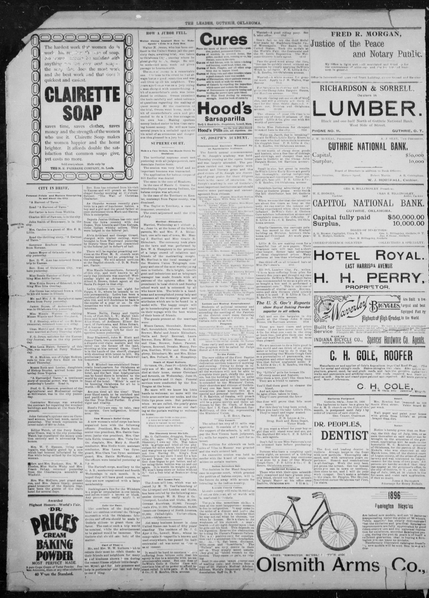 The Guthrie Daily Leader. (Guthrie, Okla.), Vol. 8, No. 23, Ed. 1, Saturday, June 27, 1896