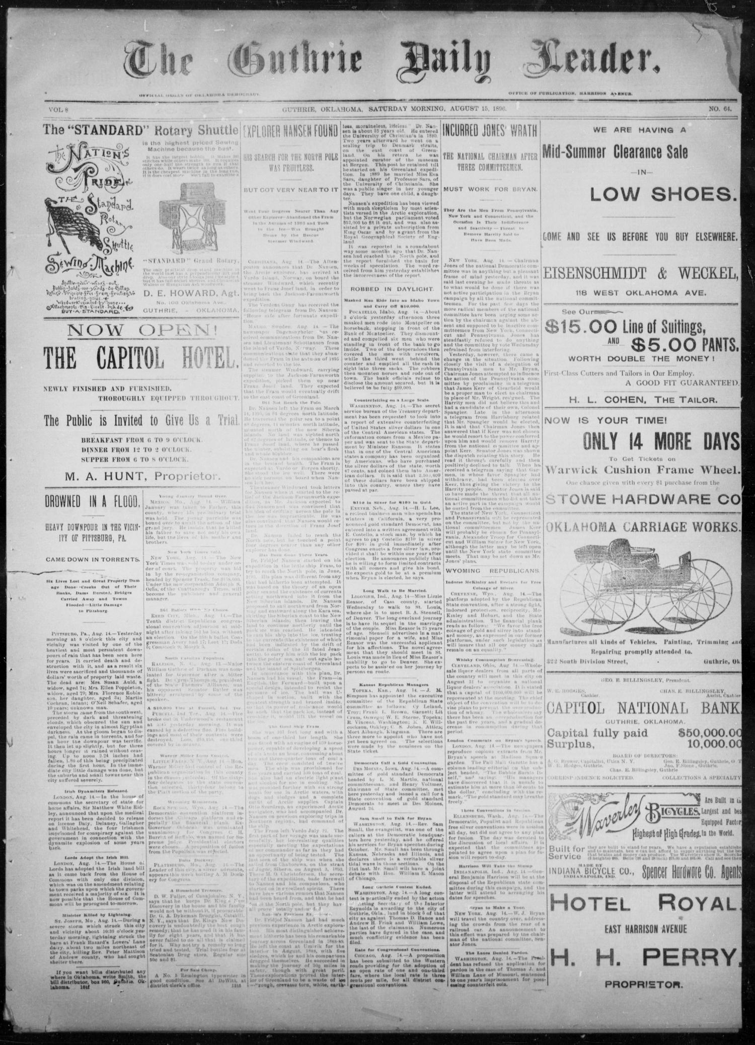 The Guthrie Daily Leader. (Guthrie, Okla.), Vol. 8, No. 64, Ed. 1, Saturday, August 15, 1896                                                                                                      [Sequence #]: 1 of 4