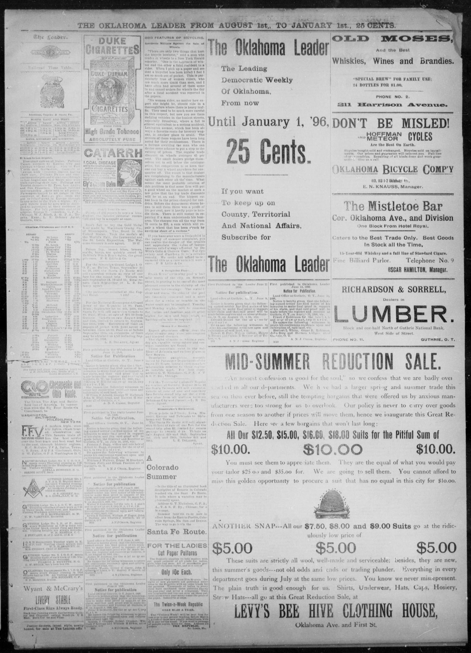 The Guthrie Daily Leader. (Guthrie, Okla.), Vol. 8, No. 64, Ed. 1, Saturday, August 15, 1896                                                                                                      [Sequence #]: 3 of 4