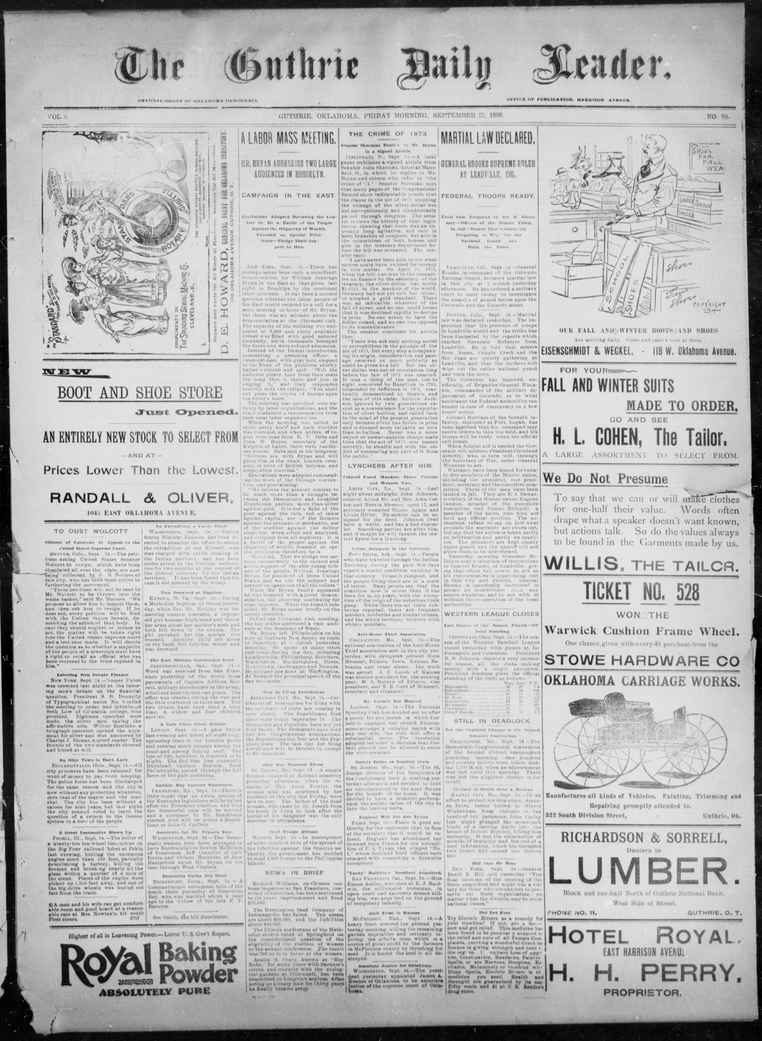 The Guthrie Daily Leader. (Guthrie, Okla.), Vol. 8, No. 98, Ed. 1, Friday, September 25, 1896                                                                                                      [Sequence #]: 1 of 4